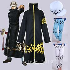 Cosplay One Piece Trafalgar Law Cloak Pants Hat Costume Halloween Party Full Set