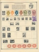 LIECHTENSTEIN: 99 MINT AND USED STAMPS ON ALBUM PAGES AND STOCK SHEETS