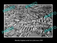 OLD LARGE HISTORIC PHOTO OF HINCKLEY ENGLAND, AERIAL VIEW OF THE TOWN c1950 2