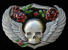 SKULL BELT BUCKLE WITH WINGS AND ROSES CLASSIC BUCKLES