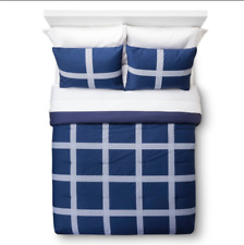 Room Essentials Linework Navy Blue 3 Piece Comforter Set King NEW
