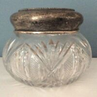 "Cut Glass/Crystal Large Dresser Jar Beaded Sterling Lid 4.25"" x 3.5"" Tall"