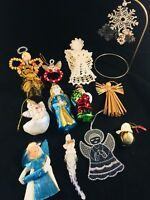 Vintage Christmas Decorations Lot - angel ornaments blown glass handmade