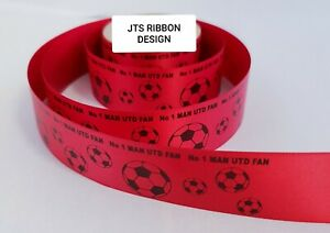 Man Utd Football Ribbon 25mm ideal for cakes and present wrap No 1 MAN UTD FAN
