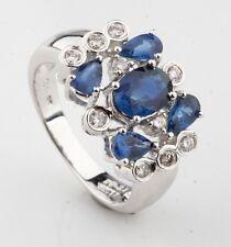 14K Oro Blanco para Mujer Zafiro Azul Anillo Racimo de Diamantes Perfecto