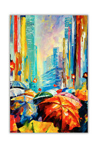 AT54378D Umbrellas By Leonid Afremov Abstract Poster Print Wall Art Decoration