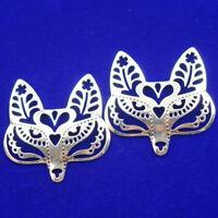 43x44x2mm 2Pcs  Carved Tibetan silver Fox Mask Pendant Bead  NN355