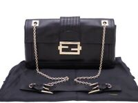 Auth FENDI Chain Shoulder Bag Black Leather/Goldtone - e42443