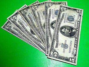 1934 Five Dollar $5 Blue Seal Silver Certificate Old US Bill Average Circulation