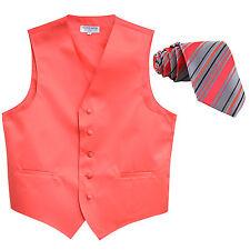 New Men's Formal Vest Tuxedo Waistcoat coral_ stripes patterned tie wedding