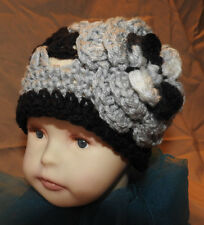 Beanie flower design hand crochet Child Baby hat Black Gray White New