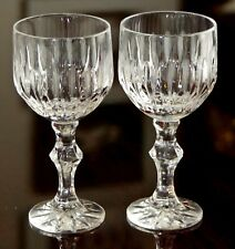 RARE 2 ANTIQUE RUSSIAN EMPIRE ETCHED MOUNTAIN CRYSTAL STEMMED VODKA SHOT GLASSES