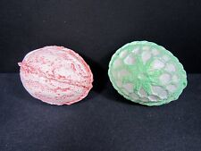 """Vintage 80s Easter Eggs Handmade Ceramic 3"""" USA Pink Green Textured Lot of 2"""
