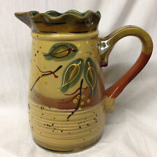 "CENTRUM NANETTE VACHER CIENE CXM6 PITCHER 8 1/8"" LEAVES & DOTS 60 OZ"