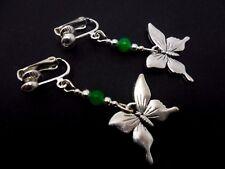 Un Paio Di Argento Tibetano Farfalla Verde Giada Perlina Orecchini A Clip. NUOVA.