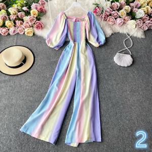 Lady Chiffon Jumpsuits Playsuit One-piece Wide-leg Rainbow Gradient Loose Summer
