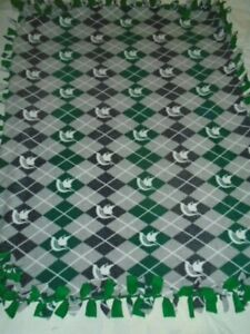 MICHIGAN STATE SPARTANS FOOTBALL HAND TIED DOUBLE SIDE FLEECE RAG BLANKET~NEW