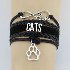 Love Cats Black Leather and Velvet Infinity Wrap Bracelet with Cat Paw Charm