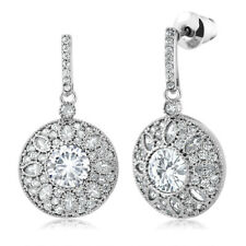 Round White CZ Rhodium Plated vintage Art Deco Dangle Earrings 6mm