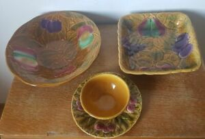 Lot Of Two Dishes And One Sauceboat Earthenware of Sarreguemines Decor Fruit