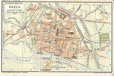 Carta geografica antica PAVIA Pianta della città 1914 Old antique map