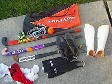 New listing Lot SET Girls FIELD HOCKEY Used 3 Sticks , cleats, guards, eye/f, socks, case,