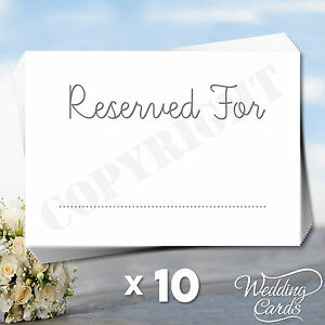 10 x Reserved Sign Seating Name Place Card Wedding Birthday Party Christening A7