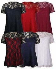 New Ladies Cap Sleeve Lace Lined Party Tops  14-28