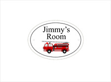 Boys Personalised Oval FRP Bedroom Door Sign With Fire Engine