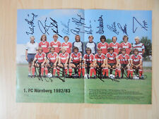 Mittelgroßes altes Poster 1. FC Nürnberg 1982/83 mit Autogramme
