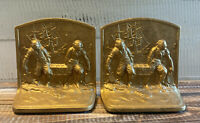Antique Hubley Cast Iron Pirates Bookends Marked 213 Treasure Island Gold Color
