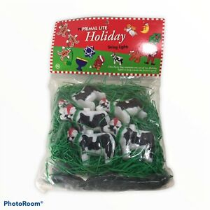 Vintage 1995 Primal Lite Holiday 14 Ft String Lights Cows And Grass *NOT TESTED*
