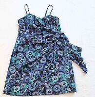 LAUREN CONRAD Women's Blue & Black Floral SIDE SWEPT  DRESS NWT Size 2  $89