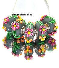 5pcs MURANO Lampwork charm Beads fit 925 silver European Bracelet Chain a992