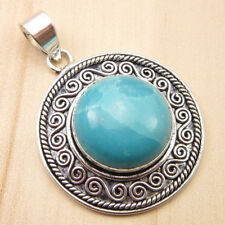 4.6 CM Pendant, High End Simulated LARIMAR LUXURY Silver Plated Jewelry