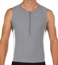 fe66330cb202d Nike Triathlon 1 2 Zip Sleeveless Tri Tank Top Singlet GRAY WHITE LARGE  MSRP  76