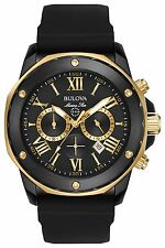 New Bulova 98B278 Marine Star Chronograph Gold Tone Rubber Strap Mens Watch