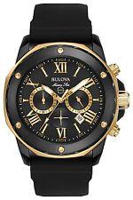 New Bulova 98B278 Marine Star Chronograph Gold Tone Rubber Strap Mens Watch