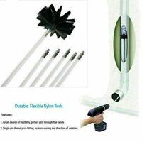 6PCS Chimney Cleaning Brush Sweep Sweeping Kit Drain Rods & 400mm BRUSH Set