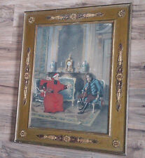 Antique Victorian Polychrome Framed Hand Colored Taber Prang Art Co Print Signed
