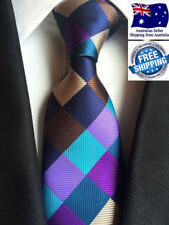 Premium Men Tie Formal Wedding Business Colorful Check Plaid Silk Jacquard