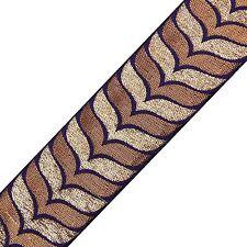 Jacquard Navy Blue Woven Trim Craft Ribbon 5.8 Cm Wide Sari Border By The Yard