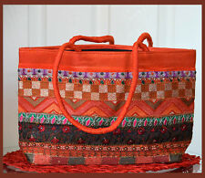 Embroidered cotton silk tote bag, hand bag, shoulder bag Orange color from India