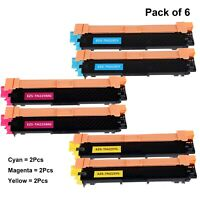 6 Pk TN225 Color Toner For Brother MFC-9130CW, MFC-9330CDW, MFC-9340CDW