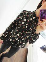 Topshop Green Floral Shirt Blouse Top Crop Long Sleeve Uk 10