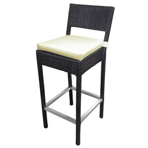 WOVEN WICKER OUTDOOR BAR CHAIR - LUXURY BROWN RATTAN BARSTOOL - PRESTON-SET OF 4