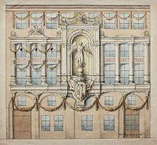 Adolf Guggenberger signierte Architektur-Zeichnung Palastfassade datiert 1871