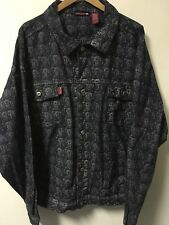 Platinum FUBU 100% Cotton Fat Albert Pattern Denim Jeans Jacket Men's Size 3XL