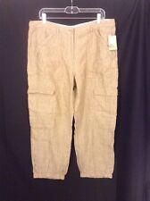 NWT Pure DKNY 100% Linen Cargo Cropped Pants OATMEAL Elastic Leg  LARGE $175
