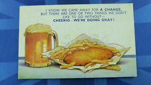 Vintage Doug Tempest Bamforth Comic Postcard 1951 Fish And Chips Pint Glass Beer